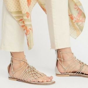 Free People Forget Me Knot Leather Sandal Silver 6